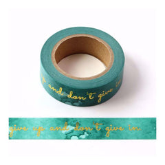 Poppy Crafts - Washitape - Dont Give Up Gold Foil (Green Tape)