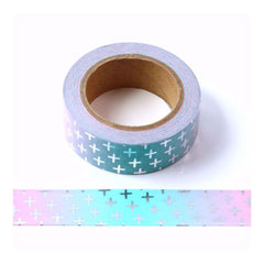 Poppy Crafts - Washitape - Cross Silver Foil (pink and blue ombre)