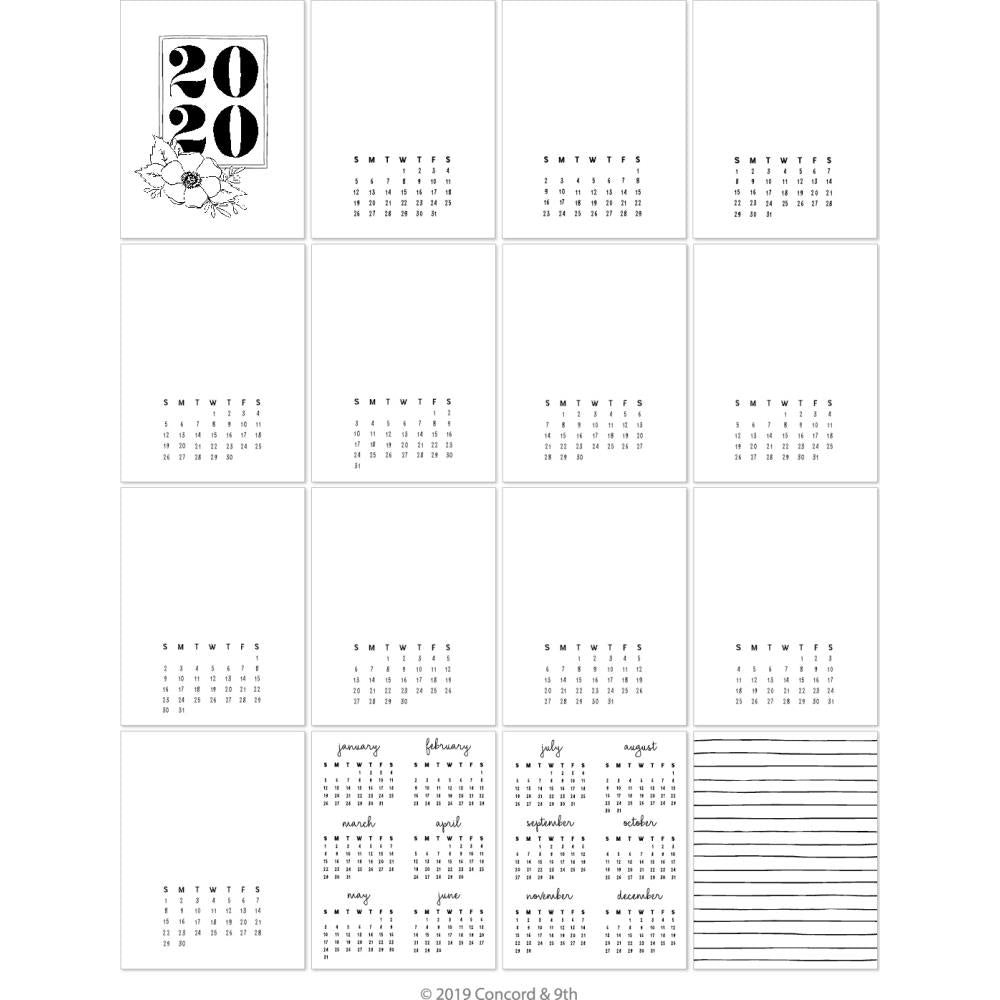 Concord & 9th 4.25in X 5.5in - 2020 Calendar Cards 16 pack