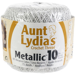 Aunt Lydias Metallic Crochet Thread Size 10 White & Silver