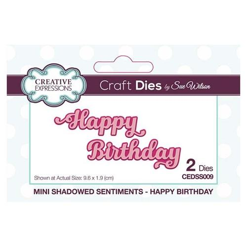 Creative Expressions - Mini Shadowed Sentiments Happy Birthday