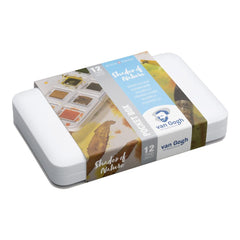 Talens - Van Gogh - Watercolour half pan - Watercolour Pocket box 12 Half Pan Shades of Nature Set