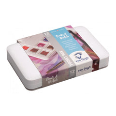 Talens - Van Gogh Watercolour half pan - Watercolour Pocket box 12 Half Pan Pinks & Violets Set