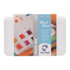 Talens - Van Gogh Watercolour half pan - Watercolour Pocket box 12 Half Pan Vibrant Colours Set