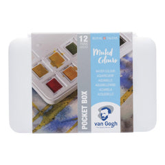 Talens - Van Gogh Watercolour half pan - Watercolour Pocket box 12 Half Pan Muted Colour Set