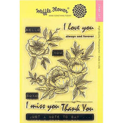 Waffle Flower Crafts Clear Stamp 5 inchX7 inch - Peony Notes