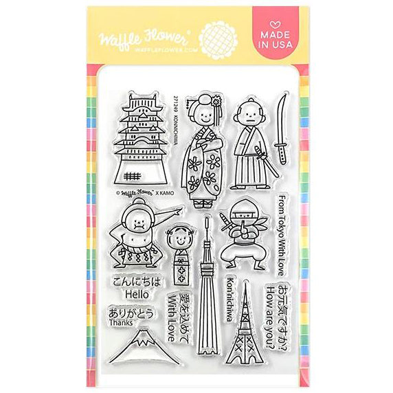 Waffle Flower Crafts Clear Stamps 4 inchX6 inch - Konnichiwa