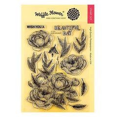 Waffle Flower Crafts Clear Stamp 5 inch X7 inch - Peony Bouquet
