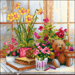 RIOLIS Counted Cross Stitch Kit 9.75in X 9.75in - Daffodils On The Windowsill (14 count)