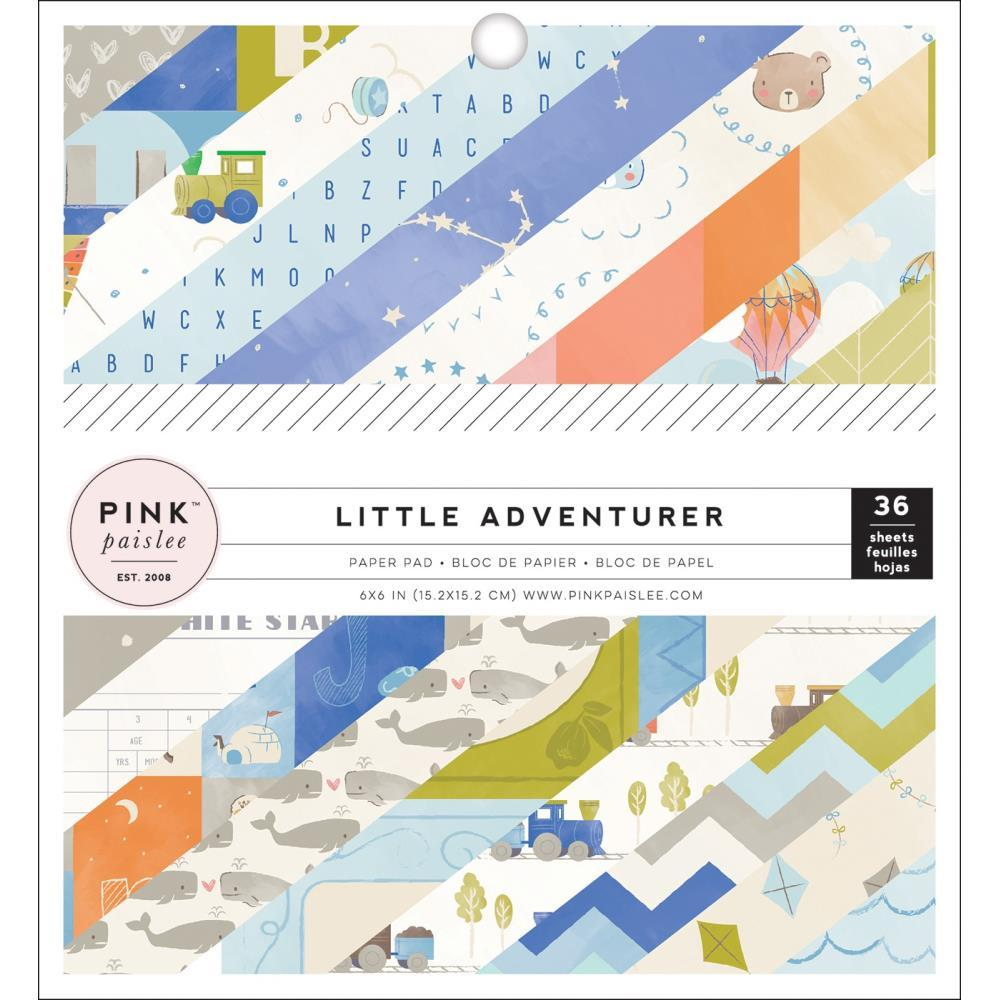 Pink Paislee Single-Sided Paper Pad 6 inch X6 inch 36 pack Little Adventurer Boy, 18 Designs/2 Ea
