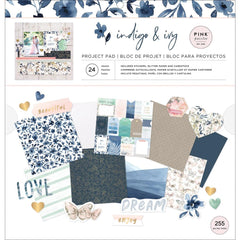 Pink Paislee - Indigo and Ivy Project Pad 12in X 12in 24/Sheets - 255 Pieces