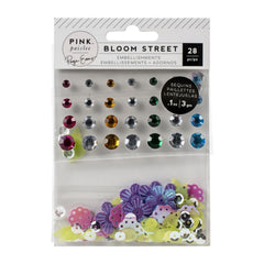 Pink Paislee Paige Evans Bloom Street - Mixed Embellishments - Adhesive Gems and Shaped Sequins