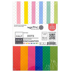 Waffle Flower 80lb Single-Sided Paper Pad 5.5in x 8.5in 36 pack - Half Dots/Enchanted, 12 Designs/3 Each