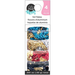 American Crafts Color Pour Resin Mix-Ins 4 pack  - Reversible Foil Flakes