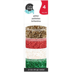 American Crafts Color Pour Resin Mix-Ins 4 pack  - Holiday Glitter