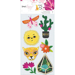 Dear Lizzy New Day Layered Stickers 7 pack Icons with Matte Gold Foil Accents