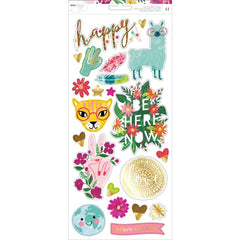 Dear Lizzy New Day Cardstock Stickers 6 inch X12 inch 41 pack Accents & Phrases with Gold Foil