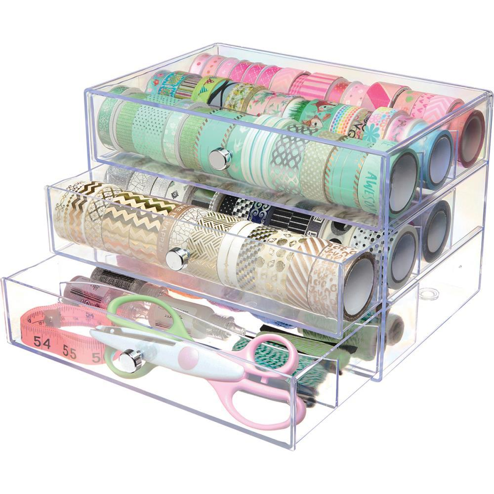 Deflecto Washi Tape Storage Cube Clear, 10inch Wx7inch Hx6.8inch D