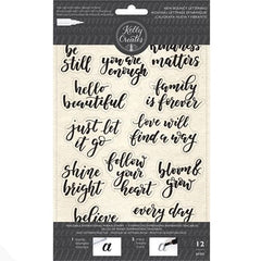 Kelly Creates - Acrylic Traceable Stamps - Bouncy Inspirational Phrases - 6x10 inch