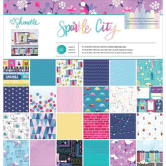 American Crafts - Single-Sided Paper Pad 12 inch X12 inch  48 pack -  Shimelle Sparkle City, 24 Designs/2 Each