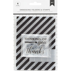American Crafts Embossing Folders & Stamps Set - Thankful Thinking