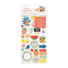 American Crafts Amy Tan Picnic In The Park - Sticker Book - Icon and Phrase  with Glitter Accents 196 pack