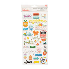 American Crafts Amy Tan, Picnic In The Park Thickers Stickers 77 pack  - Happy Hooray Phrase and Icons, Foam