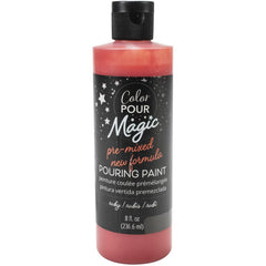 American Crafts Color Pour Magic Pre-Mixed Paint 8oz - Ruby