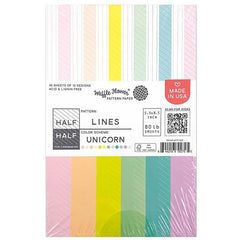 Waffle Flower 80lb Single-Sided Paper Pad 5.5in x 8.5in 36 pack - Half Lines/Unicorn, 12 Designs/3 Each