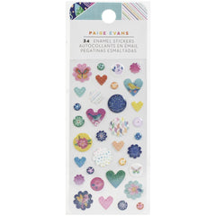 American Crafts Paige Evans - Go The Scenic Route Enamel Shapes 34 pack with Iridescent Glitter Accents