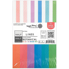 Waffle Flower 80lb Single-Sided Paper Pad 5.5in x 8.5in 36 pack - Half Lines/Botanical, 12 Designs/3 Each