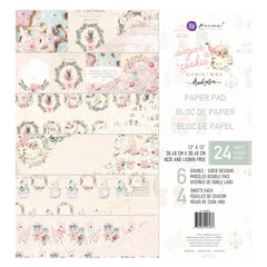 Prima Double-Sided Paper Pad 12in x 12in 24 pack  - Sugar Cookie, 6 Foiled Designs/4 Each