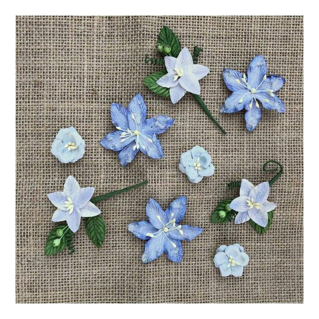 49 And Market Stargazers Paper Flowers 9 Pack Periwinkle