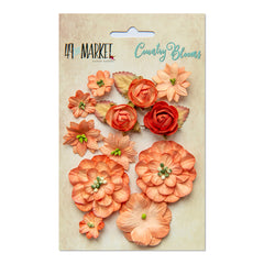 49 and Market Flower Embellishments - Country Blooms - Tangerine