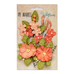 49 and Market Flower Embellishments - Wildflowers - Tangerine