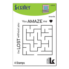 i-crafter Clear Acrylic Stamps - Amaze Me - 3in x3in