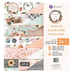 Prima Marketing Double-Sided Paper Pad 12in x 12in 24 pack  - Pumpkin & Spice, 6 Foiled Designs/4 Each