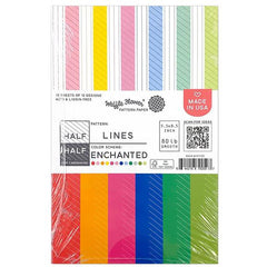 Waffle Flower 80lb Single-Sided Paper Pad 5.5in x 8.5in 36 pack - Half Lines/Enchanted, 12 Designs/3 Each