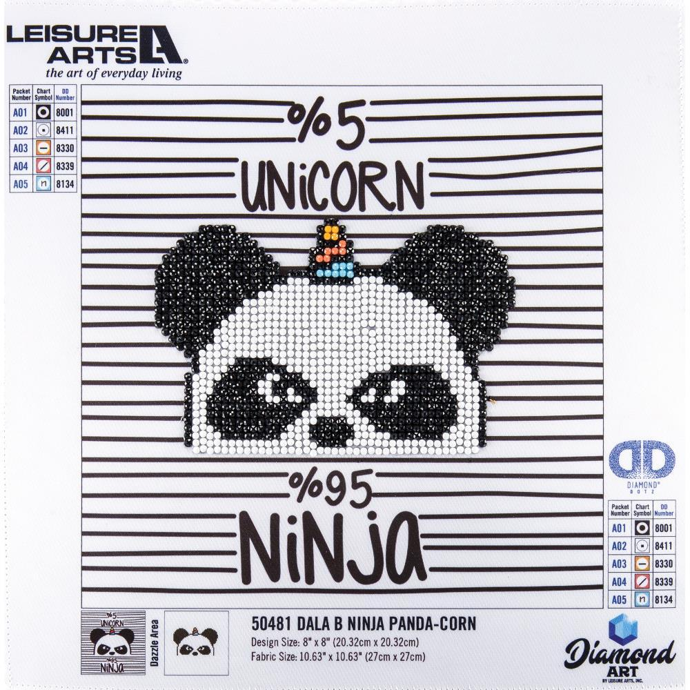 Leisure Arts Sparkle Art Diamond Paint Kit 10.63 inch X10.63 inch Ninja Panda-Corn