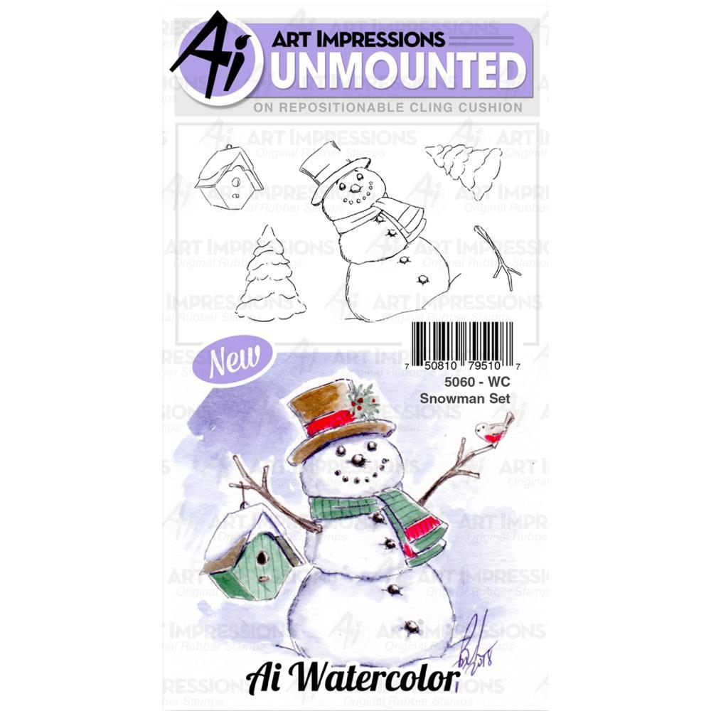 Art Impressions Watercolor Cling Rubber Stamps Snowman