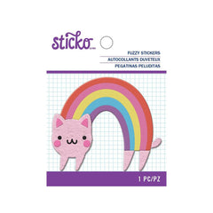 American Crafts - Sticko - Fuzzy Stickers - Rainbow Cat