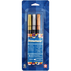Permapaque Paint Marker Fine Point 1mm 3 pack - Gold, Silver & Bronze