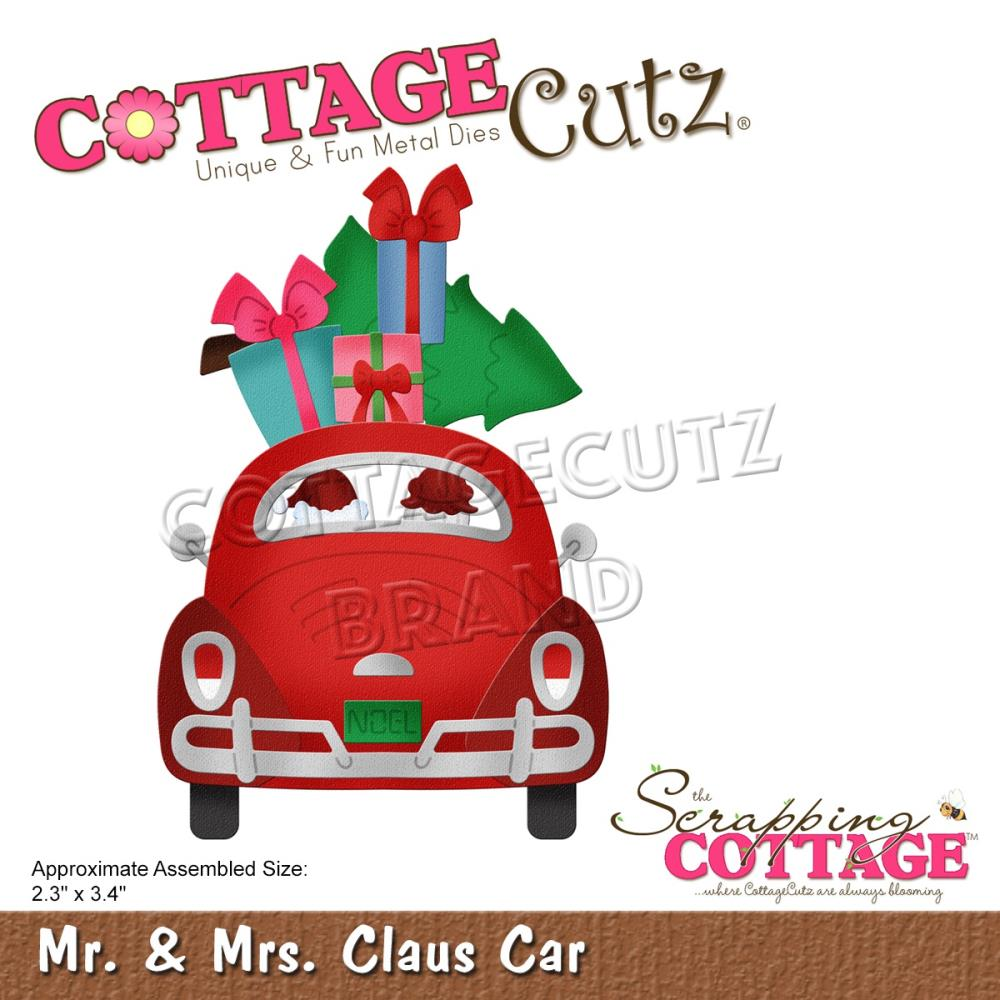 CottageCutz Dies - Mr & Mrs Claus Car 2.3in x 3.4in