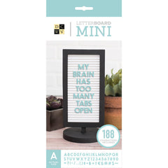 Dcwv Framed Mini Tabletop Letterboard 4 inch x8.5 inch Black with White Insert
