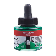 615 - Talens Amsterdam Acrylic Ink 30ml - Emerald Green