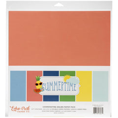 Echo Park Double-Sided Solid Cardstock 12in x 12in  6 pack - Summertime, 6 colours