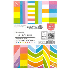 Waffle Flower 80lb Single-Sided Paper Pad 5.5in x 8.5in 36 pack - JJ's Rainbows, 12 Designs/3 Each