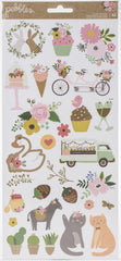 Pebbles Lovely Moments - Cardstock Stickers 6in x 12in 62 pack - Icons with Gold Foil Accents