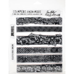 "Tim Holtz Cling Stamps 7""X8.5"" - Eclectic Edges"