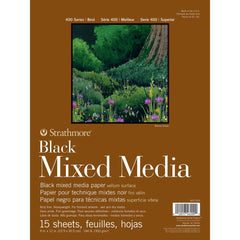 Strathmore 400 Series Mixed Media Pad - Black 9in x 12in 15 Sheets